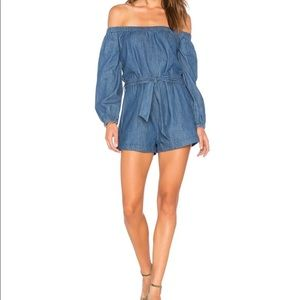 Free People Tangled In Willows Jean Denim Romper